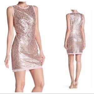 Vince Camuto Rose Gold Sequin Cocktail Dress